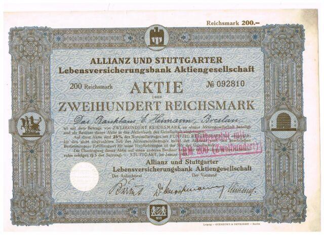 Allianz und Stuttgarter Lebensversicherungsbank AG, Stuttgart 1928, 200 RM, unge