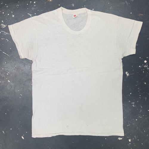 White Hanes Undershirt Vtg 60s 70s USA Cotton Basi