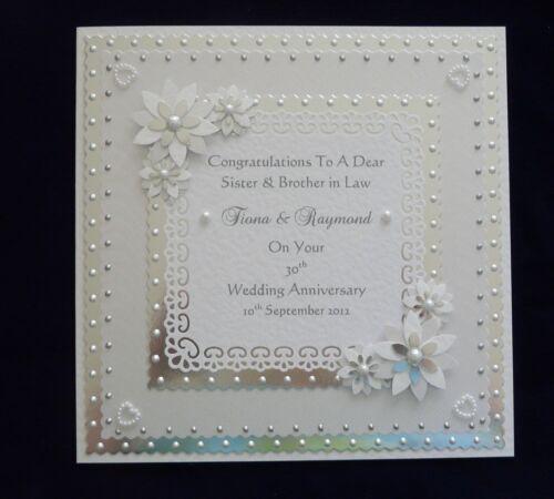 PEARL 30th anniversaire de mariage carte personnalisé avec ou sans correspondants Box