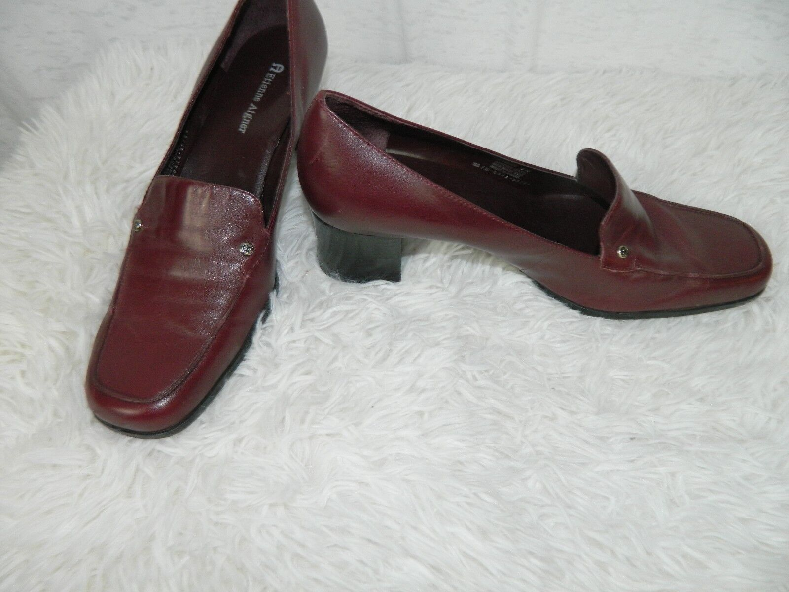 Etienne Brown Aigner Loafer Shoe Women's Brown Etienne Burgundy Leather Heel SIZE 8M e4ea54