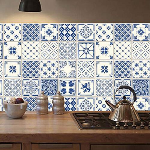 20x Square Tiles Sticker Waterproof Bathroom Kitchen Decorative Wall Stickers UK