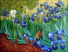 Hand Painted Oil Painting, Van Gogh Irises in the Garden Repro, 36x48in