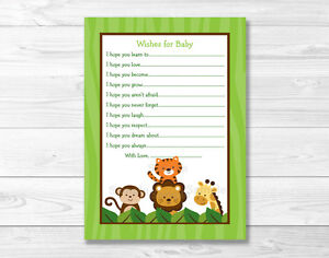 Details About Jungle Safari Friends Printable Baby Shower Wishes For Baby Advice Cards