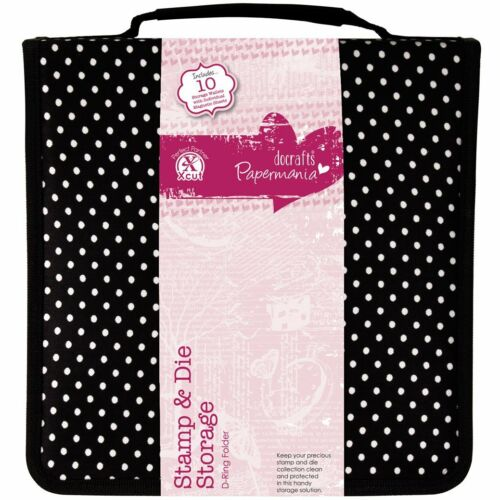 Black Polka Dot Storage Case Papermania Stamp and Die with 10 Pockets
