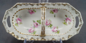 German-Large-Pink-Roses-amp-Gold-Gilt-Handled-Porcelain-Relish-Dish-Circa-1900-30