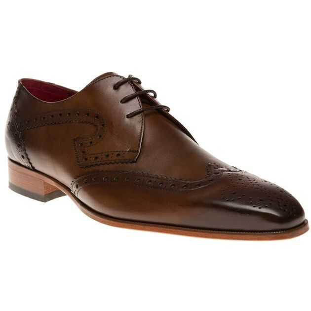 New Mens Jeffery West Tan J924 Leather Shoes Brogue Lace Up