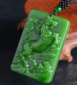 Natural Jade Pendant Necklace horse Green jade statue Amulet jade Collection