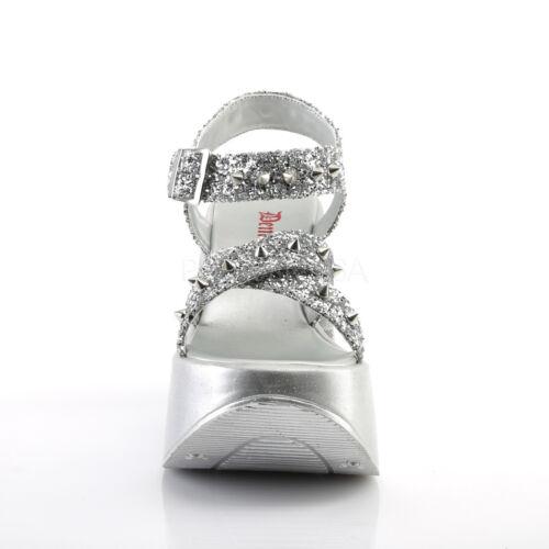 Lolita Gothic Spikes Cutout Cone Sandals Platform Demonia Star W Wedge Silver RawqCg