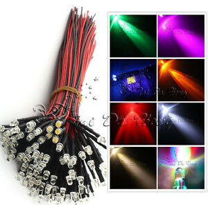 12V-DC-Pre-Wired-Ultra-bright-Water-clear-3mm-LED-Various-Colours-LED-Lamp-Light