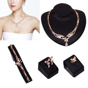4pcs-Gold-ueberzogener-Schmetterling-Kristall-Anhaenger-Halskette-Schmuck-Sets-New