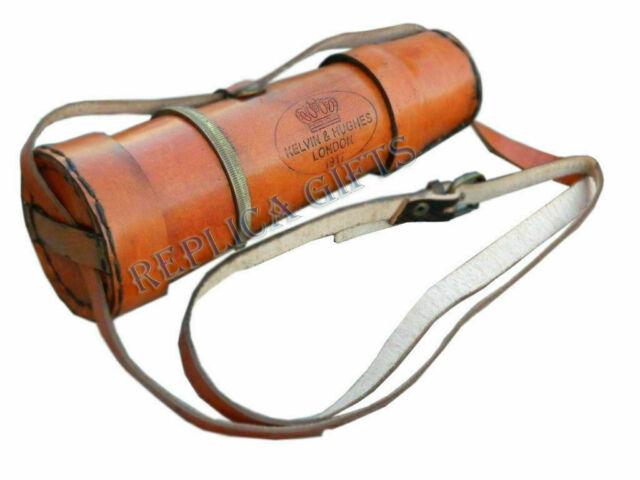HANDHELD BRASS TELESCOPE WOODEN BOX ANTIQUE OPTIC NAUTICAL PIRATE SCOPE SPYGLASS