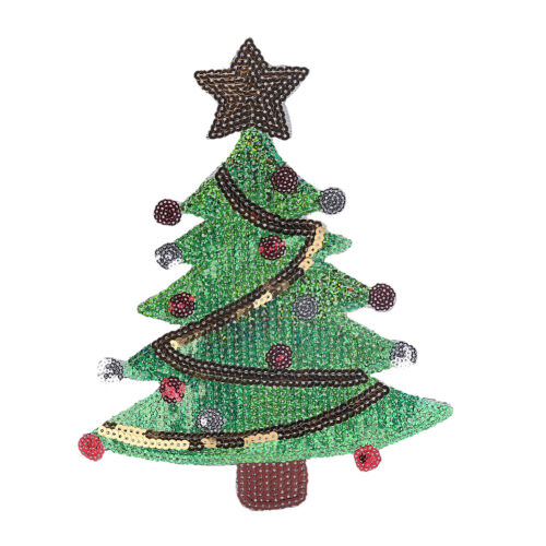 merry xmas sequins christmas tree cartoon happy diy applique iron on patch s Jv