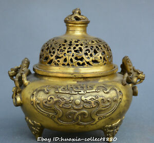 Chinese-fengshui-old-Bronze-two-dragon-Opera-beads-statue-incense-burner-censer