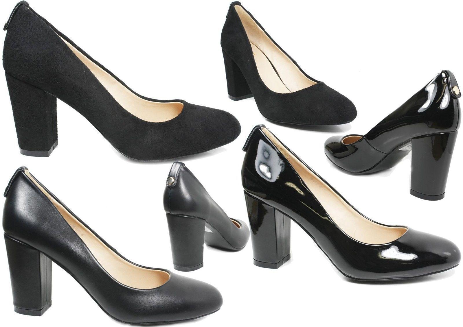 S386 - Ladies Black Office Mid Block Heel Court Work Shoes - UK 3-8