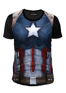 MARVEL-COMICS-Capitan-America-T-SHIRT-Sublimation-Suit-S-XL