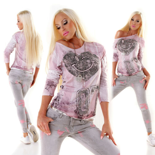 MISS CHARM PARIS New Collection Shirt Strass Smiley mehrfarbig/rosa S/M M/L L/XL