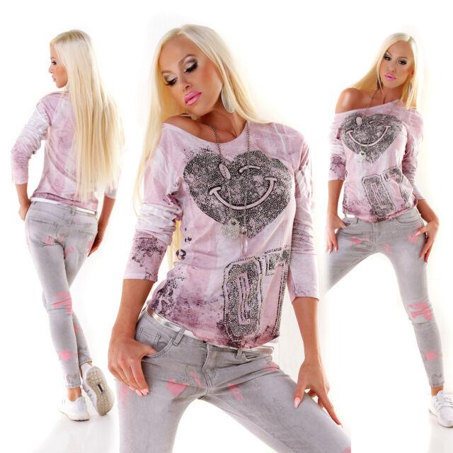 MISS CHARM PARIS Shirt Strass Smiley mehrfarbig S/M M/L L/XL