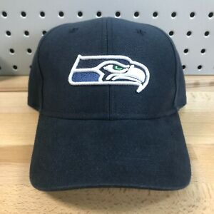 Seattle-Seahawks-NFL-Football-Reebok-Hook-amp-Loop-Back-Hat-Navy-EUC-Cap-OSFA