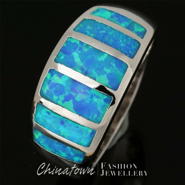 Simple Ocean Blue Fire Opal Inlay Silver Jewelry Wide Band Ring Size 8