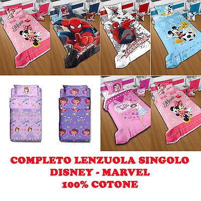 a6b9cb4d41 SET LENZUOLO PER LETTO SINGOLO DISNEY MARVEL LENZUOLA COTONE PERSONAGGI  CARTONI | eBay