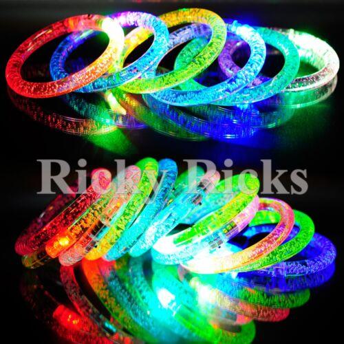 100 PCS Light-Up Acrylic Bracelets Wristbands LED Flashing Glow Rave EDC Plastic