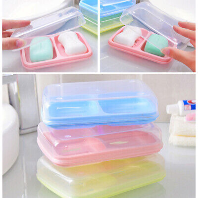 Box Storage 2//3Pcs Double Layer Plastic Bathroom Soap Dish Case Holder Container