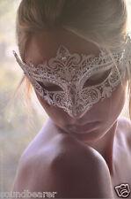White Royal Crown Venetian Masquerade Metal Filigree Mask w/ Rhinestones