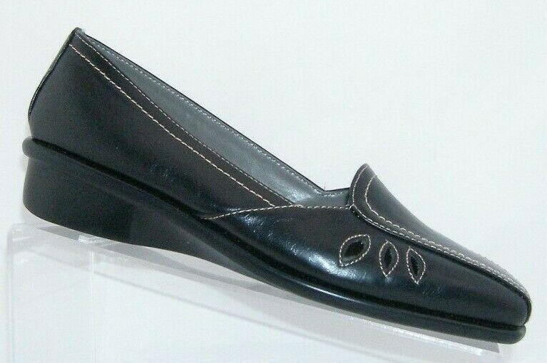 Aerosoles 'Medieval' black man made square toe teardrop cut out loafer flats 8M