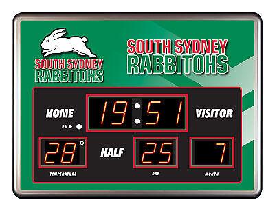 Licensed NRL SOUTH SYDNEY RABBITOHS Rugby SCOREBOARD LED Glass Clock Man Cave