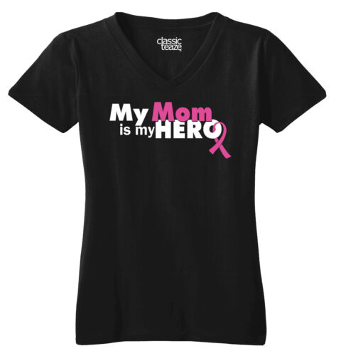 Breast Cancer Awareness Mom Is My Hero Pink Ribbon Gift Junior V-Neck Tee