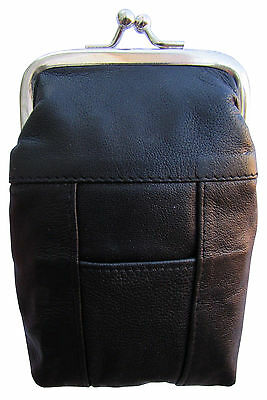 New London Stitch Womens Leather Cigarette Case Holder with Lighter Pocket Black