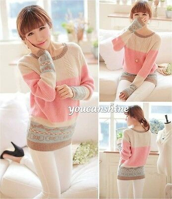 Women's Winter Stripe Knitted Pullover Loose Coat Tops Sweater Knitwear Jumper