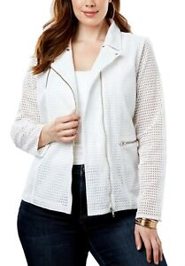 Details about Womens PLUS size 18 to 30 JACKET white zip up long sleeve cut  out light weight