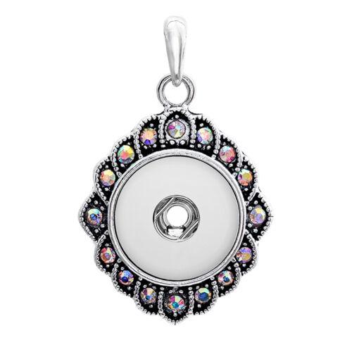 18 mm Charme Cristal Alliage Pendentif pour Fit Noosa Collier Snap Chunk Bouton A104