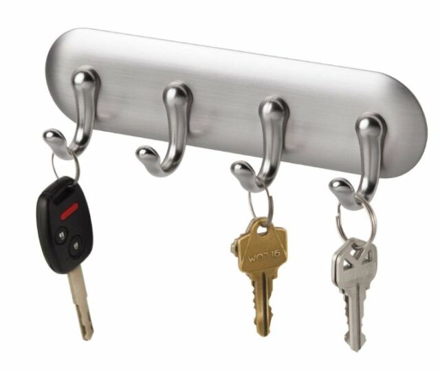 Chrome Key Holder Rack 5 Hooks Wall Mount Organizer Keys Hanger Storage Hook New
