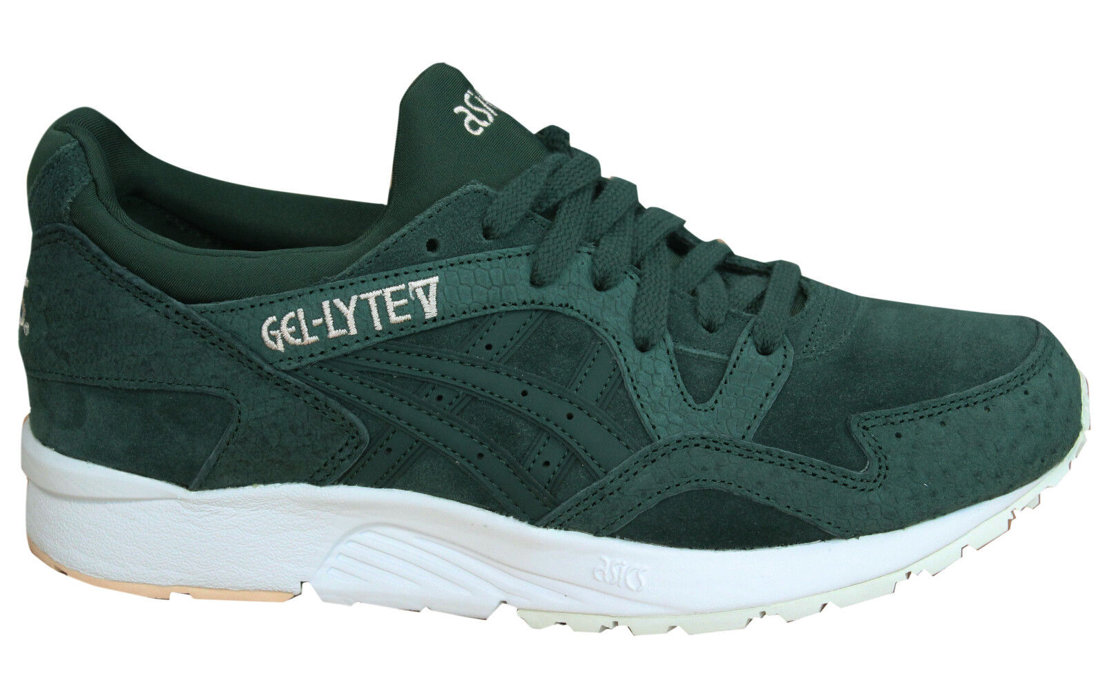 Asics Gel-Lyte V Lace Up White Green Leather Womens Trainers HL7DL 8585 M8 Cheap and beautiful fashion