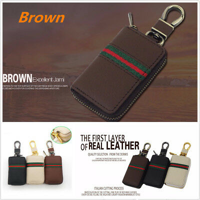 Brown PU Leather Car Remote Key Case Wallet Holder Keychain Cover Organizer Bag