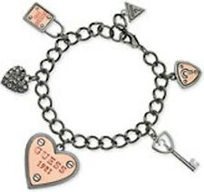 NWT Guess Black & Rosegold Metals-Clear Rhinestones Multi Charm Bracelet