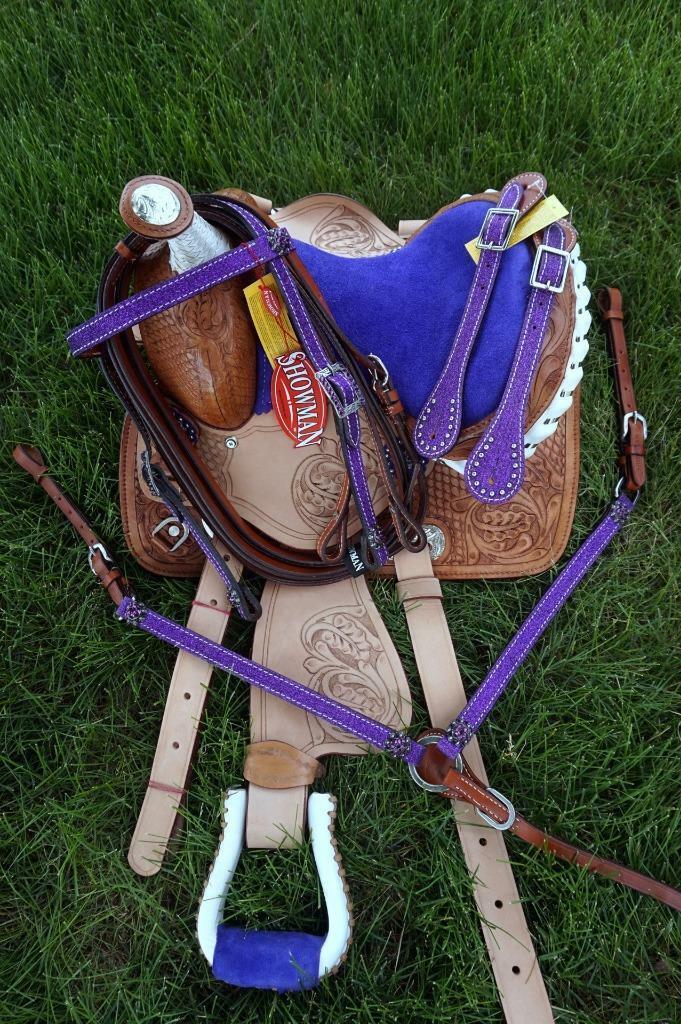 Popular Trail Barrel 10  violet seat Saddle Showhomme Pony Glitter HSBP Pkg DEAL