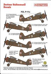 Techmod  PZL P-11c Decals in 1/72 120