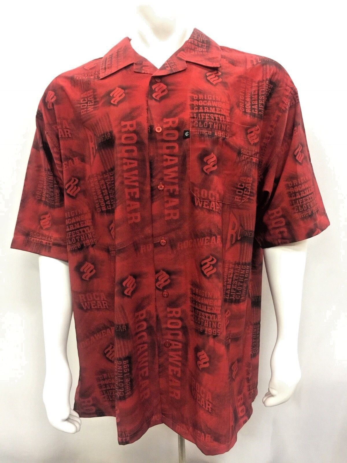 Men's Rocawear Red All Over Short Sleeve Button Down Shirt