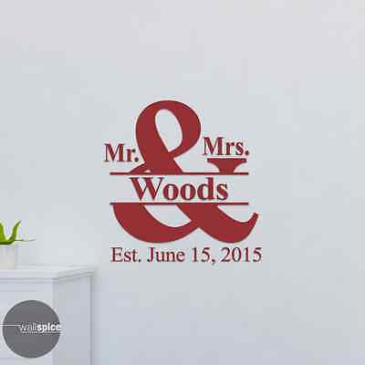 PERSONALISED MR and MRS name wedding damask swirls frame wall art sticker decal