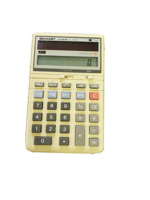 Vintage Sharp Elsimate EL-336A Solar Powered Calculator With Kickstand, clean!