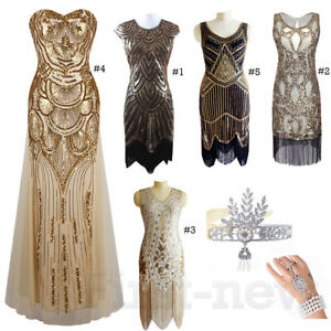 Image Is Loading 1920 039 S Flapper Dress Gatsby Sequins Fringed