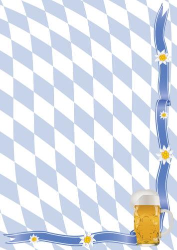 Motivpapier Briefpapier 50 Blatt DIN A4 Bayern Raute weiß//blau Oktoberfest Bier