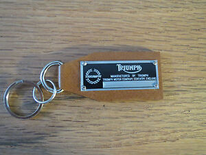 Triumph Data Plate Leather Keychain Spitfire Stag 2000 Tr2 Tr3 Tr4