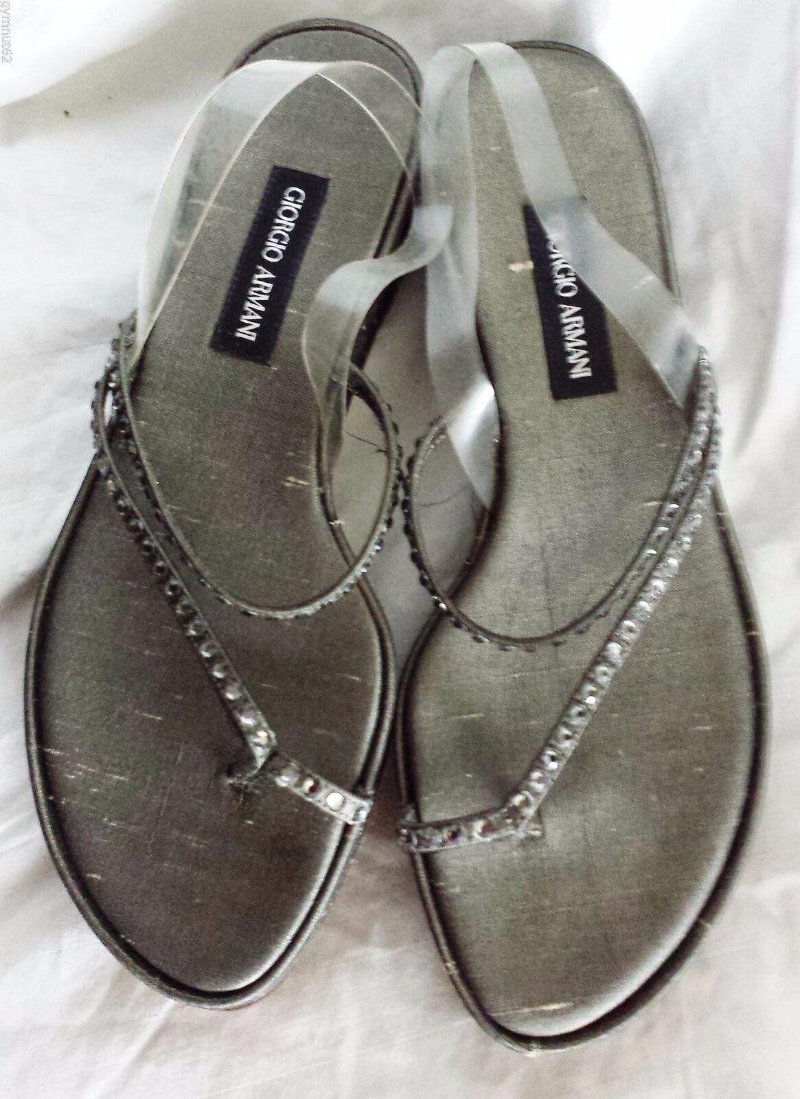 NEW Giorgio Armani Sandals 5-1 2 shoes 36 Platinum Rhinestone 5.5