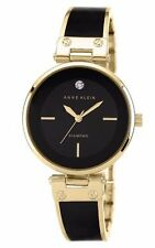 Anne Klein Womens Black Dial Black & Gold Tone Bangle Bracelet Watch AK/2302BKGB