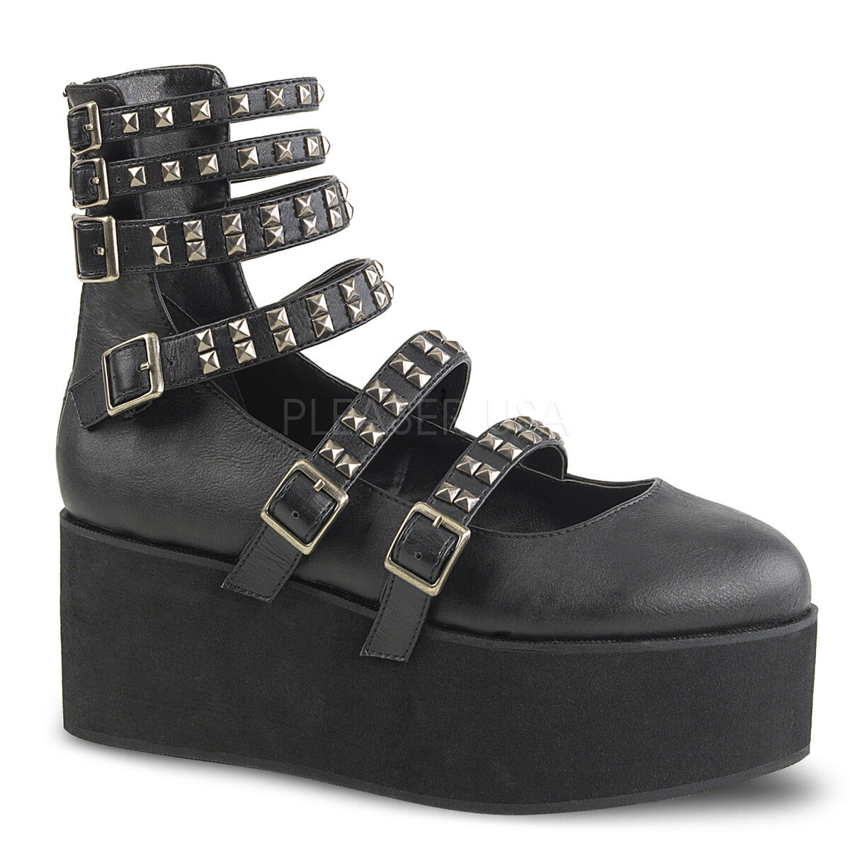 Demonia 2.75  Platform Black Vegan Strap Mary Mary Mary Jane Stud Buckle shoes Goth 6-11 8c14a7