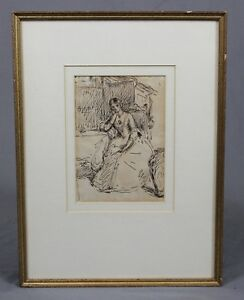 Circle-of-John-Evertt-Millais-1829-1896-Pen-and-Ink-Sketch-Drawing-Portrait-Lady